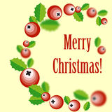 Christmas wreath with holly berry. Vector illustration of Christmas wreath Stock Images