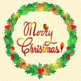 Christmas wreath with holly berry Royalty Free Stock Photo