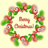 Christmas wreath with holly berry Stock Images