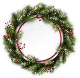 Christmas wreath with holly. Stock Photo