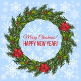 Christmas wreath with holly and spruce tree. Christmas and New Year wreath with holly and spruce tree. Vector illustration Stock Image