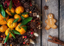 Christmas wreath homemade gingerbread cookie and spices Royalty Free Stock Photography