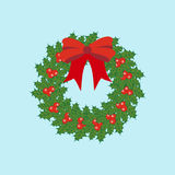 Christmas Wreath Icon. On the blue background. Vector illustration Royalty Free Stock Photography