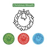 Christmas wreath icon. Christmas wreath with bell icon on white background. New year Chrismas object isolated on white background. Graphic for Web Design Stock Photos