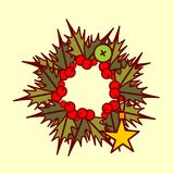 Christmas Wreath Icon Garland Hand Drawn Holiday Decoration Concept Royalty Free Stock Photo
