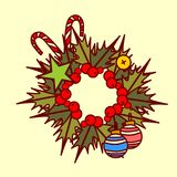 Christmas Wreath Icon Garland Hand Drawn Holiday Decoration Concept Royalty Free Stock Image
