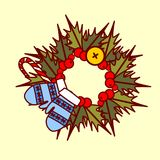 Christmas Wreath Icon Garland Hand Drawn Holiday Decoration Concept Stock Image