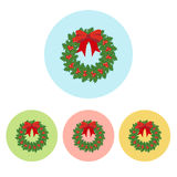 Christmas Wreath icon. On the white background. Vector illustration Stock Images