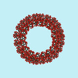 Christmas wreath illustration. On the blue background. Vector illustration Royalty Free Stock Image