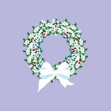 Christmas wreath illustration. On the purple background. Vector illustration Royalty Free Stock Images
