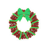 Christmas wreath illustration. On the white background. Vector illustration Stock Image