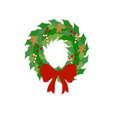 Christmas wreath illustration. On the white background. Vector illustration Royalty Free Stock Photos