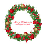 Christmas wreath isolated. Christmas wreath decorated with ribbon, balls and candies isolated on white. Vector eps 10 Stock Photos