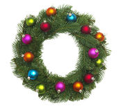 Christmas Wreath. Isolated Christmas with baubles on a wreath Stock Photography