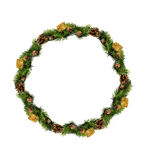 Christmas wreath isolated over white background Royalty Free Stock Photo