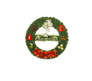 Christmas wreath, isolated on white background with clipping pat Stock Photos