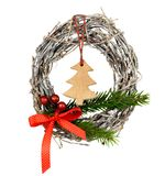 Christmas wreath isolated. On a white background. Christmas door decoration stock image