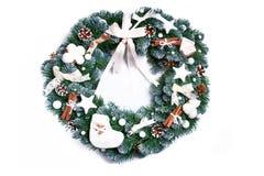 Christmas wreath isolated on white background. Festive decoration Royalty Free Stock Image