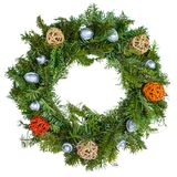 Christmas wreath isolated on white background. Traditional green . festive decoration stock photos