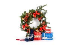 Christmas wreath isolated on white Stock Photos
