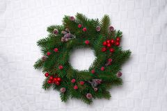 Christmas wreath, isolated on white Stock Photography