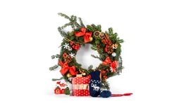 Christmas wreath isolated on white Royalty Free Stock Photo