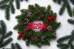 Christmas wreath, isolated on white Royalty Free Stock Photography