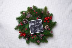 Christmas wreath, isolated on white Stock Images