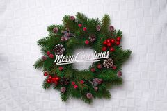 Christmas wreath, isolated on white Royalty Free Stock Images