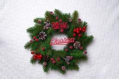 Christmas wreath, isolated on white Stock Photos