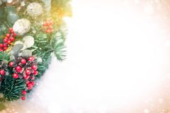 Christmas wreath isolated on a white snow background royalty free stock images