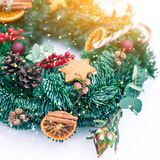 Christmas wreath isolated on a white snow background stock image