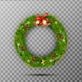 Christmas Wreath with jingle bells, red bow and ribbon, star, berry. Decorated wreath of pine branches Stock Photography