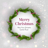 Christmas wreath on light background with sparkles Stock Photography