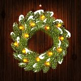 Christmas wreath with light bulbs stock photo