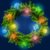 Christmas wreath with light garland Stock Photo