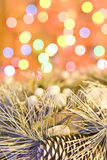 Christmas wreath on lights background. Christmas silver wreath on lights background stock photography