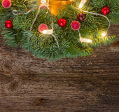 Christmas wreath with lights Royalty Free Stock Photography