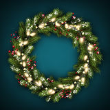 Christmas wreath with lights. Green Christmas wreath with lights, holly and snow. Vector illustration Stock Image