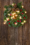 Christmas wreath with lights Royalty Free Stock Photos