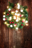 Christmas wreath with lights Stock Photo