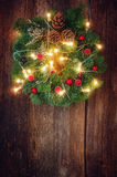 Christmas wreath with lights Stock Photo