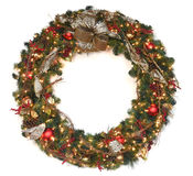 Christmas Wreath With Lights Royalty Free Stock Photo