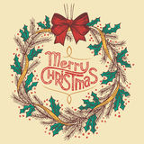 Christmas wreath line drawing Royalty Free Stock Photo
