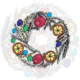 Christmas wreath. Liner and color Vector Stock Photography