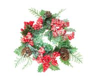 Christmas wreath made of berries and cones and spruce royalty free stock photos
