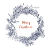 Christmas wreath made of branches and cones of fir and spruce trees, rowan berries, orange slices, holly leaves, star. Anise hand drawn in monochrome colors Royalty Free Stock Photos