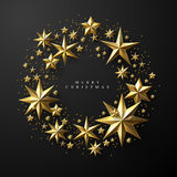 Christmas Wreath made of Cutout Gold Foil Stars. On Black Background. Chic Christmas Greeting Card Stock Photos