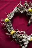 Christmas wreath made of dried twigs and lichens royalty free stock images