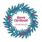 Christmas wreath made of fir tree branches. Christmas wreath made of fir tree branches decorated with xmas balls. Flat vintage style Royalty Free Stock Photo